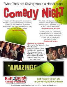 Comedy at the Tennis Club - Flier Back