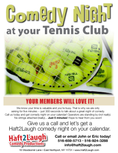 Comedy at the Tennis Club - Flier Front